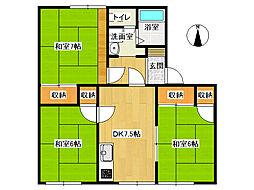 タウニーハイツA[A101号室]の間取り