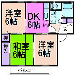 栃木県鹿沼市東町3丁目の賃貸アパートの間取り