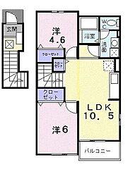 福岡県北九州市八幡西区下上津役元町の賃貸アパートの間取り