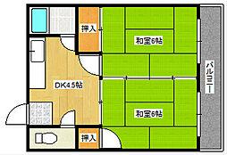 広島県広島市中区光南2丁目の賃貸マンションの間取り