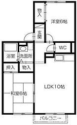 セジュール濱田Ⅲ[1階]の間取り