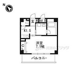 大阪モノレール彩都線 豊川駅 徒歩2分の賃貸マンション 3階1Kの間取り