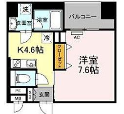 西鉄天神大牟田線 薬院駅 徒歩6分の賃貸マンション 7階1DKの間取り