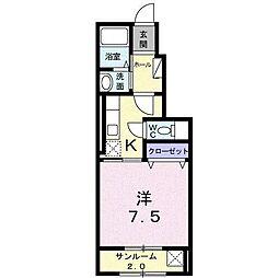 富山県富山市蓮町5丁目の賃貸アパートの間取り