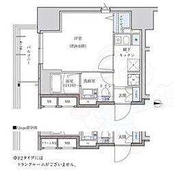 パークアクシス新栄 8階1Kの間取り