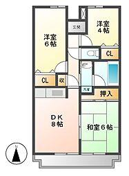 栃木県下野市祇園2丁目の賃貸マンションの間取り