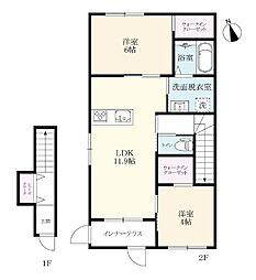 (仮)北方町新築アパート[201号室]の間取り