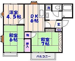 平松ハイツA棟[1階]の間取り