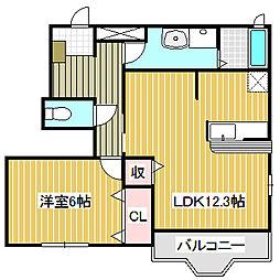 愛知県名古屋市中川区昭明町3丁目の賃貸アパートの間取り