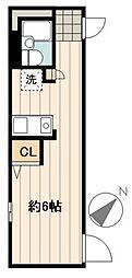 デュオメゾン幡ヶ谷 2階ワンルームの間取り