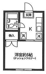 東京都大田区西蒲田6丁目の賃貸アパートの間取り