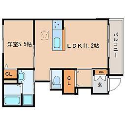 近鉄大阪線 五位堂駅 徒歩6分の賃貸マンション 1階1LDKの間取り