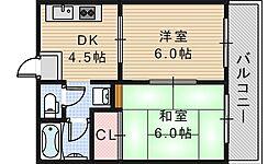 プレアール遠里小野[203号室]の間取り