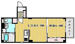 プレジールdeux京町堀[2階]の間取り