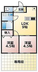 SAKURA VILLAGE 1階2LDKの間取り