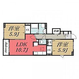 千葉県成田市はなのき台3丁目の賃貸アパートの間取り