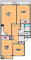 奈良三条町住宅3号棟[4階]の間取り