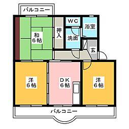 ドムスツインベルI[3階]の間取り