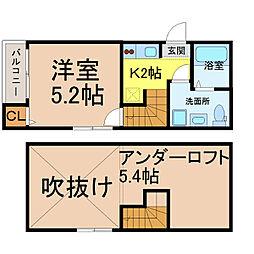 愛知県名古屋市中村区若宮町1の賃貸アパートの間取り
