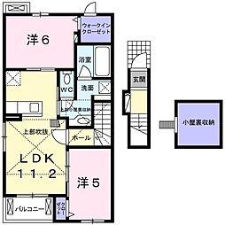 愛知県名古屋市緑区作の山町の賃貸アパートの間取り