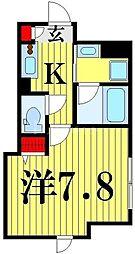 仮)谷在家2丁目新築計画 3階1Kの間取り