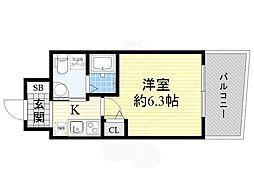 Osaka Metro御堂筋線 江坂駅 徒歩7分の賃貸マンション 4階1Kの間取り