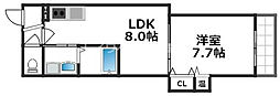 Osaka Metro四つ橋線 花園町駅 徒歩7分の賃貸アパート 2階1LDKの間取り