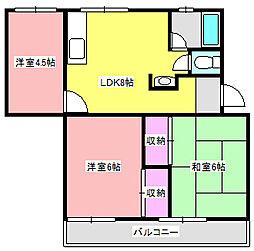 サニーハイツB[1階]の間取り