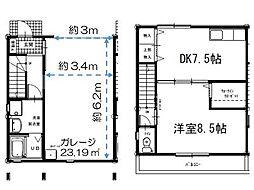 パルテノス(ガレージハウス) B棟 2階1DKの間取り