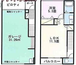 太子町鵤ホビールームA号 2階1LDKの間取り