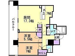 シティタワー札幌 7階2LDKの間取り