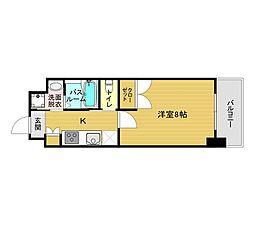 福岡市地下鉄箱崎線 貝塚駅 徒歩12分の賃貸マンション 2階1Kの間取り