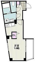 ビーカーサヨコハマツルミ 5階ワンルームの間取り