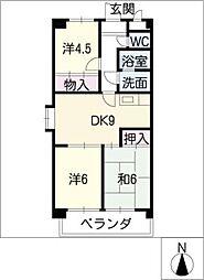 AMOUR MIWA[2階]の間取り