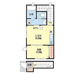 JR上越新幹線 新潟駅 徒歩13分の賃貸アパート 2階ワンルームの間取り