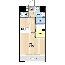 LIBTH(リブス)平尾II 2階ワンルームの間取り