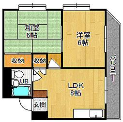 兵庫県西宮市松原町の賃貸マンションの間取り