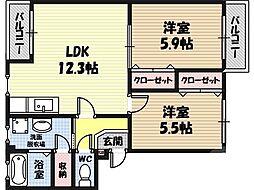 パークハイム鶴見 2階2LDKの間取り