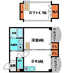 MIYAX土居 3階1DKの間取り