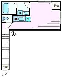 ハーツ・アサヒロ 2階ワンルームの間取り