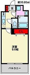 JR博多南線 博多南駅 バス11分 上警固下車 徒歩1分の賃貸マンション 5階1Kの間取り
