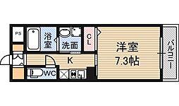 阪急宝塚本線 十三駅 徒歩10分の賃貸マンション 3階1Kの間取り