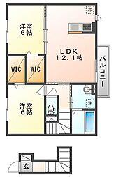 岡山県赤磐市高屋の賃貸アパート 2階2LDKの間取り