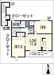 サンシャイン66[2階]の間取り