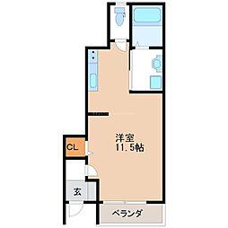 JR東北本線 宇都宮駅 徒歩8分の賃貸アパート 1階ワンルームの間取り