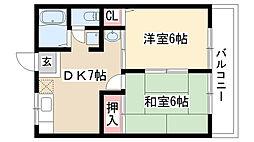 愛知県名古屋市天白区植田山1丁目の賃貸アパートの間取り
