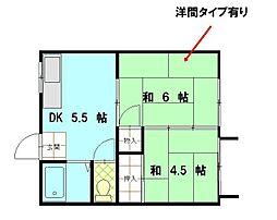 畑田第1アパート[203号室]の間取り