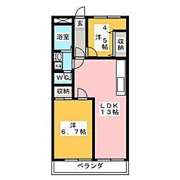 パークヒルズ奥田[6階]の間取り