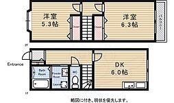 京王線 調布駅 バス20分 山野下車 徒歩2分の賃貸アパート 1階2DKの間取り