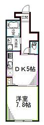 西武新宿線 武蔵関駅 徒歩17分の賃貸アパート 1階1DKの間取り